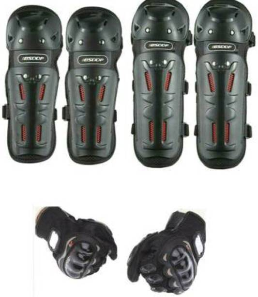 WHEETOYKART Riding Knee Elbow Guard X4 + Gloves Combo For All Riders Knee Guard, Elbow Guard XL Black
