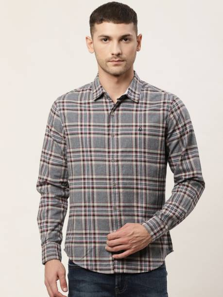 United Colors of Benetton Men Checkered Casual Grey Shirt