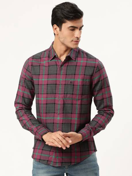 United Colors of Benetton Men Checkered Casual Pink Shirt
