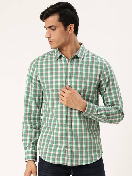 United Colors of Benetton Men Checkered Casual Green Shirt