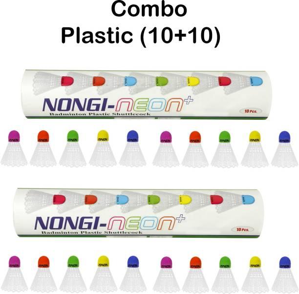 Nongi Neon Plus Combo Colored Cork Plastic Shuttle  - White