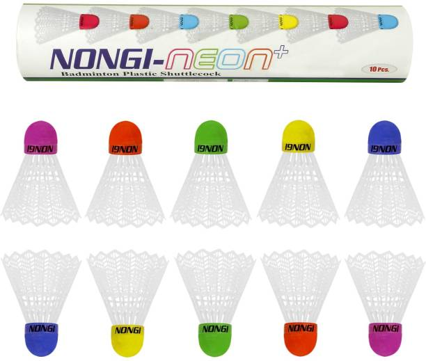 Nongi Neon Plus Colored Cork Plastic Shuttle  - White