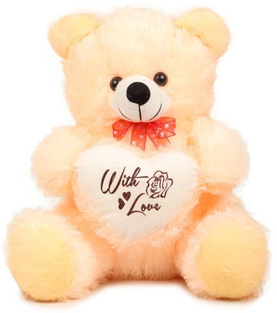 AARU Soft And Plush 1.5 Feet Sitting Butter Color Monu Teddy Bear With Heart 45 Cm  - 45 cm