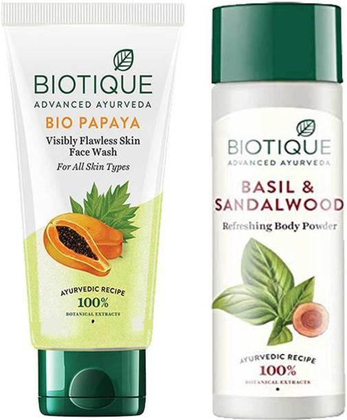 BIOTIQUE Youthfull Skin Care Pack - Bio Papaya Face Wash200ml, Bio Basil and Sandalwood Refreshing Body Powder150ml