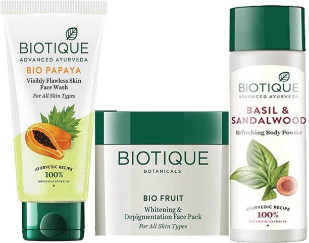 BIOTIQUE Youthfull Skin Care Pack - Bio papaya Face Wash 200ml, Bio Fruit Face Pack 100gm, Bio Basil and Sandalwood Refreshing Body Powder 150ml
