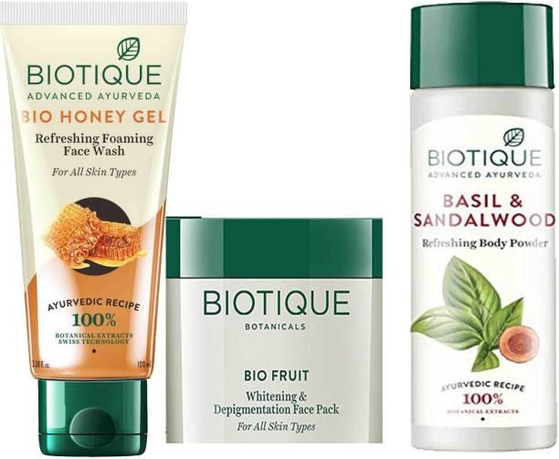 BIOTIQUE EverGreen Skin Care Pack - Bio Honey Face Wash 200ml, Bio Fruit Face Pack 100gm, Bio Basil and Sandalwood Refreshing Body Powder 150ml