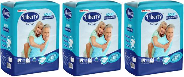 Liberty ECO ADULT DIAPERS, SIZE LARGE, 10 PCS PACK, FOR WAIST SIZE 40-60 INCHES, COMBO OF 3 Adult Diapers - L