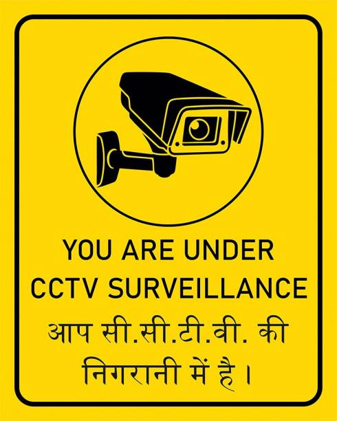 Anweshas Set of 3 CCTV Warning in Hindi English, You are Under CCTV Surveillance Sricker, Sign for Bank Company Office Shopping Mall Shops Security Information Emergency Sign