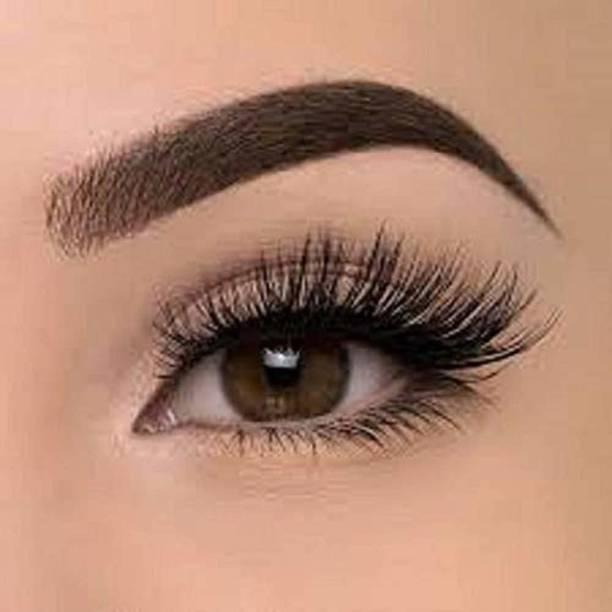 SUSVIJ Black Long False Eyelashes With Glue for Pretty Eye Makeup For Women And Girls Combo Pack Of 2