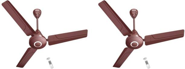 """HAVELLS Efficiencia Neo 48"""" Brown 5 Star 26 Watts 1200 mm, With Remote control, pack of 2 1200 mm 3 Blade Ceiling Fan"""