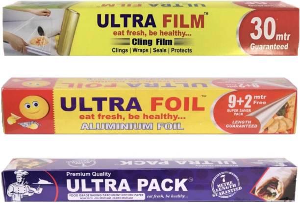 Ultra Film 30 Mtr Cling Film, ULTRA FOIL 11 Mtr Aluminium Foil & ULTRA PACK 7 Mtr Parchment Paper Combo Pack Shrinkwrap