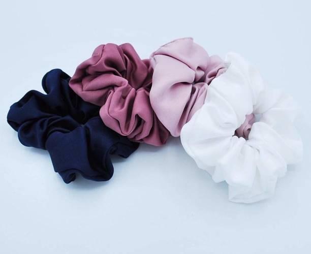 PANKSHRI ENTERPRISE Silk Hair Scrunchies Hair Ties (Multicolour) Pack of 4 Rubber Band