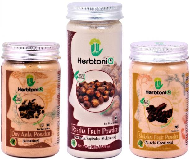 HerbtoniQ Natural Dry Amla Powder, Reetha Fruit Powder And Shikakai Fruit Powder For Hair Pack