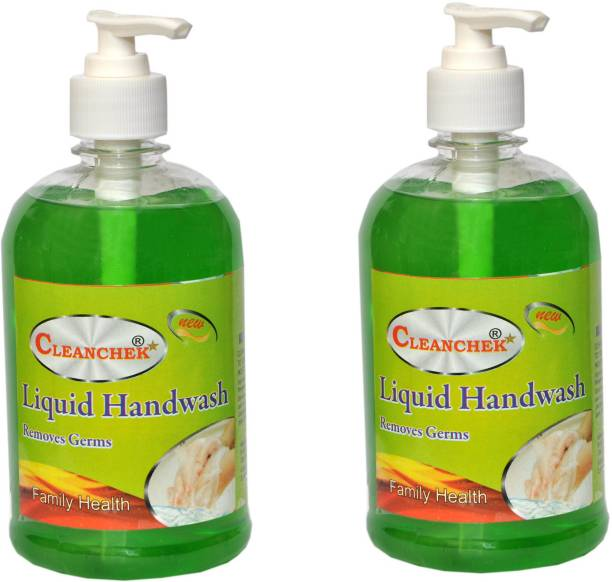 CLEANCHEK Liquid Hand Wash 500ml Aloe Vera (Pack of 2) (With 1 Refill pack) Hand Wash Bottle