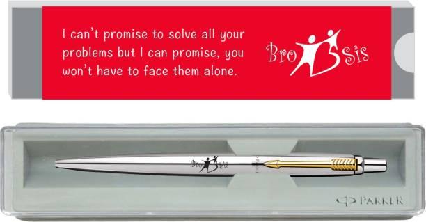 PARKER Jotter Stainless Steel Gold Trim BRO & SIS Rakhi Gift set Ball Pen