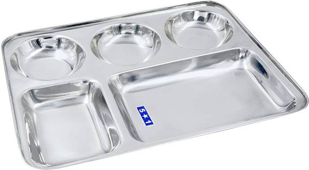 Liolis Stainless Steel Lunch Dinner Plate Bhojan Thali 5 in 1 Round Extra deep Compartment Divided Plate , Camping Outdoor Plate/Wedding Plate/Mess Tray Set/Restaurant Steel Plate Dinner Plate