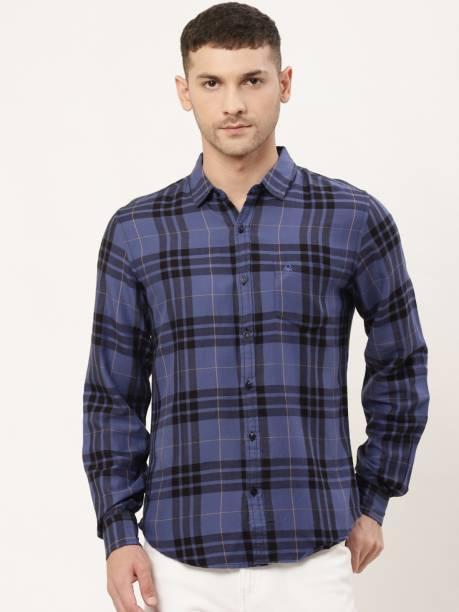 United Colors of Benetton Men Checkered Casual Dark Blue Shirt