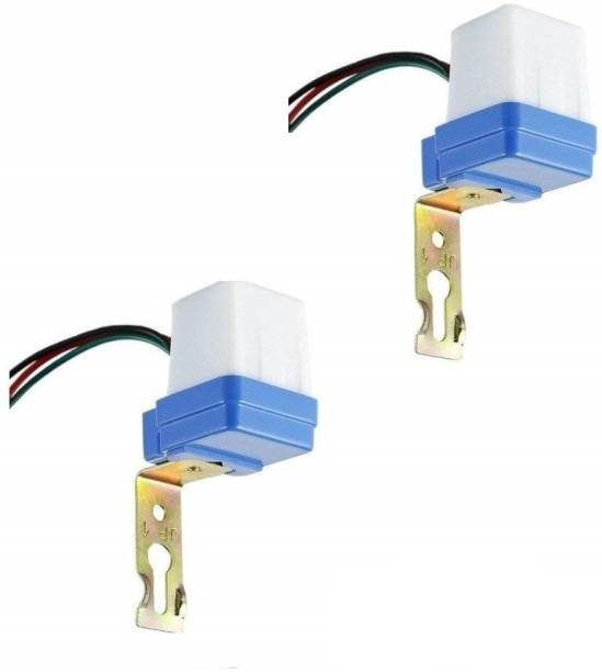 SiSAH Plastic 220 Volt Auto Day/Night On-Off Photocell Sensor Switch for Lights Water Proof, White -2 Pieces Smart Kit
