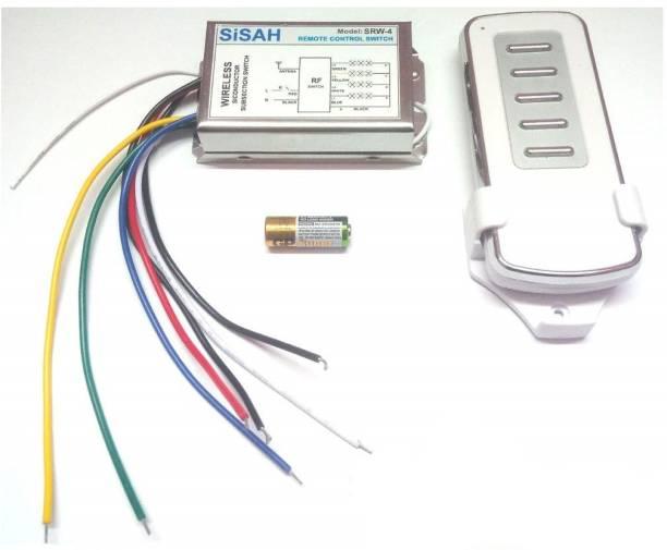SiSAH Plastic 4 Way RF Remote Control Switch Metal Body (Multi-Colour, Standard Size) Smart Kit