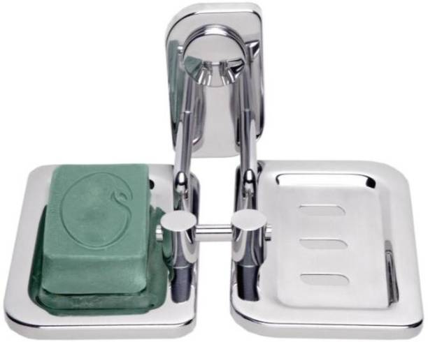 iSTAR Double Soap Dish Stand, Double Soap dish Holder, Bathroom Accessories(Chrome Finish, 304 Stainless Steel) (Silver)