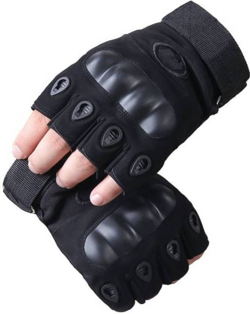 SHVAS Half Finger Ridding Gloves Riding Gloves (Black) (PAIR OF 2) Riding Gloves