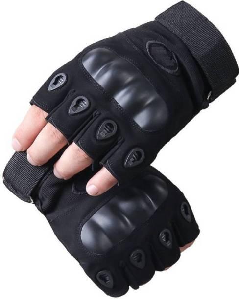 SHVAS Half Finger Ridding Gloves Riding Gloves (Black) (PAIR OF 2) Riding Gloves
