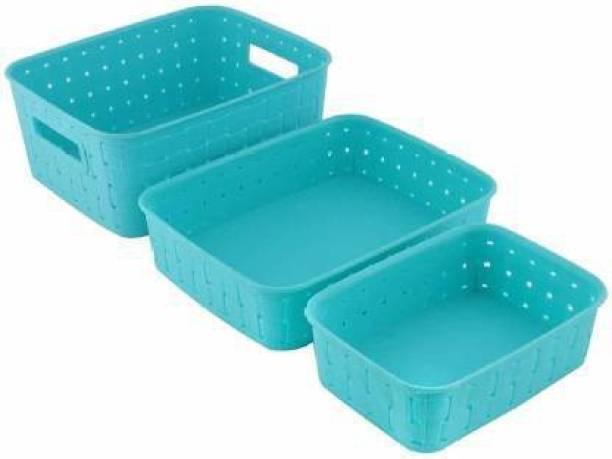 ASPIRAL Multipurpose Smart Shelf Basket Set 3 Pc Storage Basket for Fruits, Vegetables,Magazines, Cosmetics etc Storage Basket Basket for Kitchen Use (Pack of 3) Storage Basket