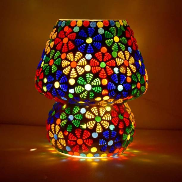 RISHABH ENTERPRISES Glass Shape Table Lamp Vintage Night Lamp, Side Lamps Light Decoration for Home ,Living Room, Bedroom Bedside, Mandir , Hall   Made in India Products Table Lamp (17 cm, Multicolor) PACK OF 1 Table Lamp