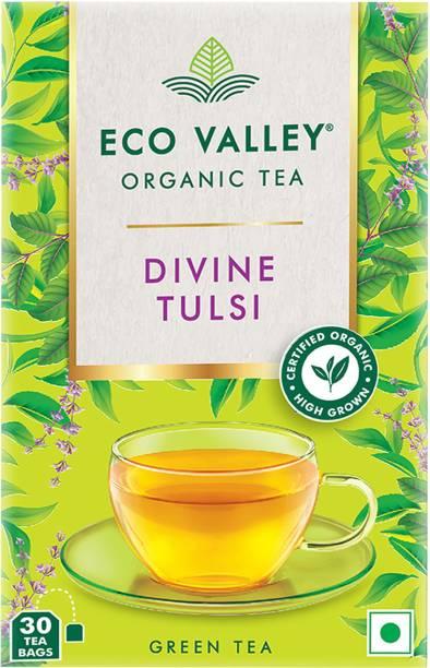 Eco Valley Divine Tulsi Green Tea Bags Box