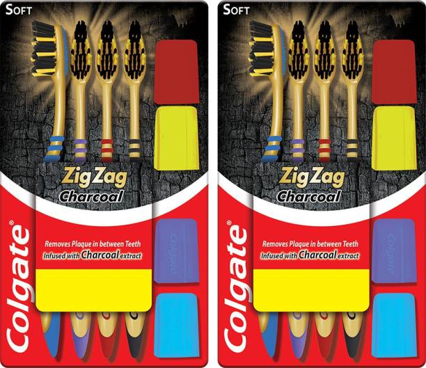 Colgate ZigZag Charcoal S Combo Packs Soft Toothbrush