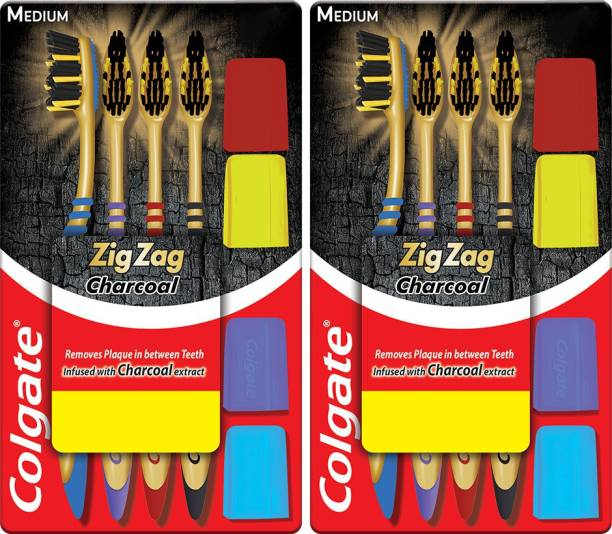 Colgate ZigZag Charcoal M Combo Packs Medium Toothbrush