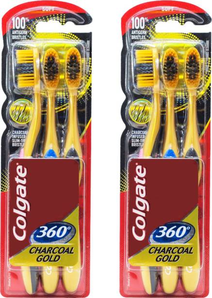 Colgate 360 Charcoal Gold Combo Packs Soft Toothbrush