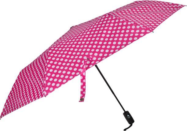 Fendo Bobby Polka Dots 3 Fold Automatic Open Men/Women UV Protection Monsoon/Rainy & Sun Umbrella in Pink Umbrella