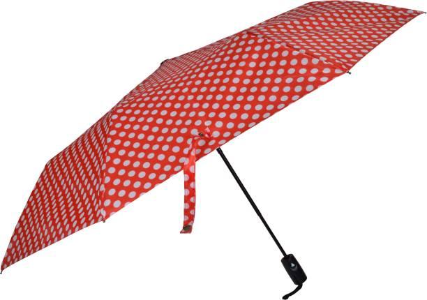 "Fendo Bobby Polka Dots 3 Fold Automatic Open 23.5"" (596 mm) Men/Women UV Protection Monsoon/Rainy & Sun Umbrella in Red Umbrella"