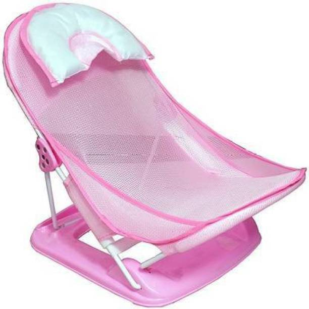 Honey Bee Baby Quality Folding Anti-Slip Wash Chair With Soft Mesh / Deluxe Newborn Baby Bather / Bath Rack / Shower Chair For Newborn Babies Baby Bath Seat (Pink) Baby Bath Seat
