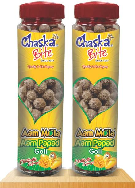 CHASKA BITE Aam Papd Goli Sour and Tagy Sweet Khatti Meethi Candies Soft Pack of 2 220 gm Each AAM PAPAD FLAVOR Sour Candy