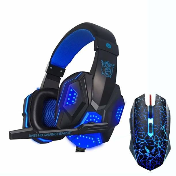 Bluefinger Gaming Headset and Gaming Mouse Combo, Pro Gaming Headset for Xbox One, PS4, PC, Laptop, Pung Mobile Game with Mic, LED Over-Ear Headphone, 3.5mm Wired Ergonomic USB Gaming Mouse Combo Set