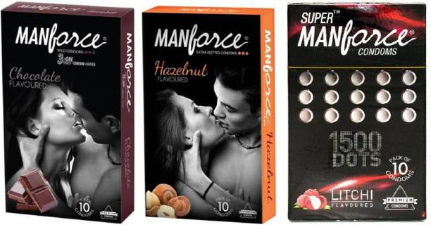 MANFORCE CHOCLATE(10S),HAZELNUT(10S),LYCHEE(10S)CONDON 30S (PACK OF 10*3 CONDOMS) EXTRA DOTTED CONDOM,CONDOM FOR MEN,MANKIND CONDOM Condom