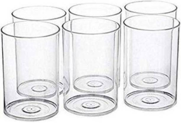 wintrezza (Pack of 6) 6 Pcs. Unbreakable Stylish Transparent Water Glass Set 300 Ml,Abs Poly Carbonate Plastic Magic Glasses Glass Set