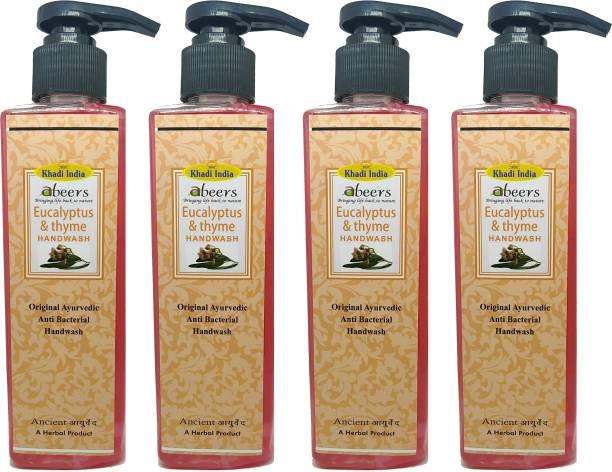 khadi abeers Eucalyptus & Thyme Hand Wash - Pack of 4 (1000ml) Hand Wash Pump Dispenser