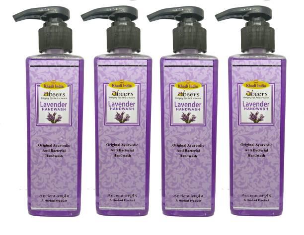khadi abeers Lavender Hand Wash - Pack of 4 (1000ml) Hand Wash Pump Dispenser
