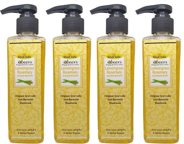 khadi abeers Lemongrass Rosemary Hand Wash - Pack of 4 (1000ml) Hand Wash Pump Dispenser