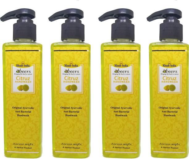 khadi abeers Citrus Hand Wash - Pack of 4 (1000ml) Hand Wash Pump Dispenser