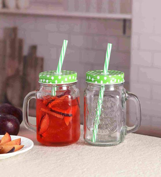 Sahebji Glass Mason Jar with Straw and Handle, 500ml, 2-Piece (Transparent) Glass(500 ml) Glass Mason Jar