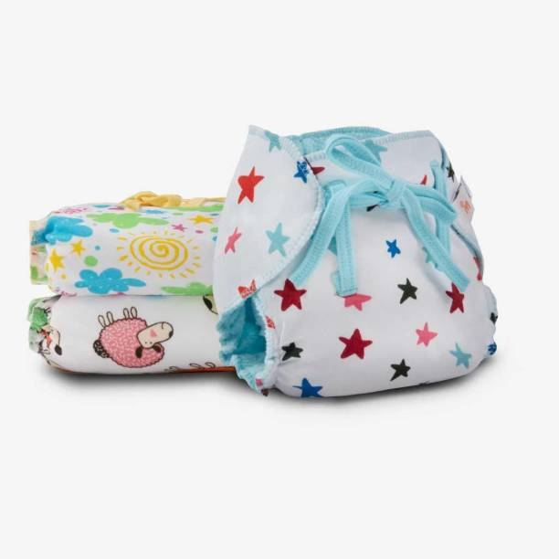 Superbottoms Dry Feel Langot- 3 Printed, Organic cotton, padded, wet-free nappy (Size 1)