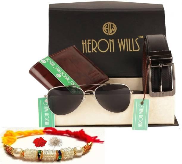 Heron Wills Wallet, Belt, Chawal Roli Pack, Rakhi, Goggle  Set