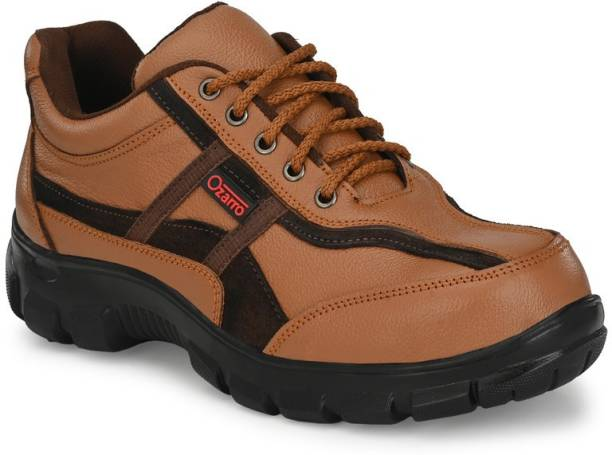 Ozarro Tan Genuine Leather Steel Toe Safety Shoe (S4409) Steel Toe Genuine Leather Safety Shoe