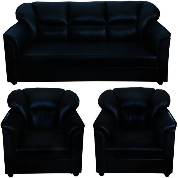 gnanitha Leather 3 + 1 + 1 black Sofa Set