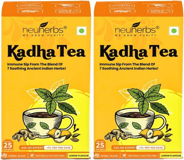 Neuherbs Kadha Tea Lemon Flavour - Herbal Immunity Booster Lemon Herbal Tea Bags Box