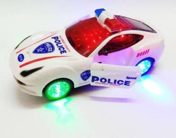 Kidz N Toys Battery operated car kids MUSICAL toy AND ROTATION 3D POLICE CAR FOR KIDS Bump and Go 3D Lights Police Car with Sound and Wheels with Light for kids (Multicolor) (White, Pack of: 1)